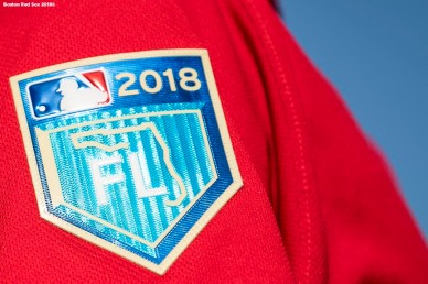 FT. MYERS, FL - FEBRUARY 15: A patch is shown on the jersey during a Boston Red Sox during a team workout on February 15, 2018 at Fenway South in Fort Myers, Florida . (Photo by Billie Weiss/Boston Red Sox/Getty Images) *** Local Caption ***