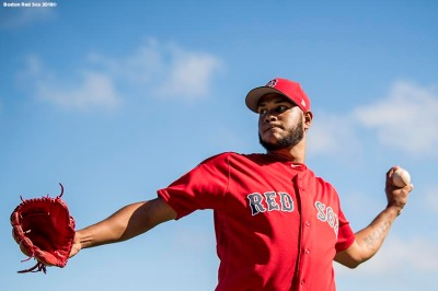 FT. MYERS, FL - FEBRUARY 15: Eduardo Rodriguez #57 of the Boston Red Sox pitches during a team workout on February 15, 2018 at Fenway South in Fort Myers, Florida . (Photo by Billie Weiss/Boston Red Sox/Getty Images) *** Local Caption *** Eduardo Rodriguez