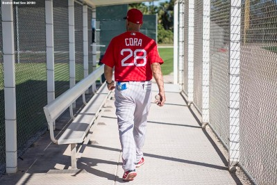 FT. MYERS, FL - FEBRUARY 15: Manager Alex Cora of the Boston Red Sox walks through the dugout during a team workout on February 15, 2018 at Fenway South in Fort Myers, Florida . (Photo by Billie Weiss/Boston Red Sox/Getty Images) *** Local Caption *** Alex Cora