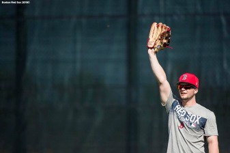 FT. MYERS, FL - FEBRUARY 15: Andrew Benintendi #16 of the Boston Red Sox reacts during a team workout on February 15, 2018 at Fenway South in Fort Myers, Florida . (Photo by Billie Weiss/Boston Red Sox/Getty Images) *** Local Caption *** Andrew Benintendi
