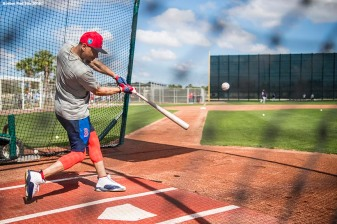 FT. MYERS, FL - FEBRUARY 15: Mookie Betts #50 of the Boston Red Sox takes batting practice during a team workout on February 15, 2018 at Fenway South in Fort Myers, Florida . (Photo by Billie Weiss/Boston Red Sox/Getty Images) *** Local Caption *** Mookie Betts