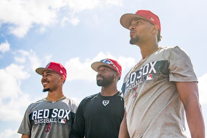 FT. MYERS, FL - FEBRUARY 15: Mookie Betts #50, Jackie Bradley Jr. #19, and Xander Bogaerts #2 of the Boston Red Sox look on during a team workout on February 15, 2018 at Fenway South in Fort Myers, Florida . (Photo by Billie Weiss/Boston Red Sox/Getty Images) *** Local Caption *** Xander Bogaerts; Mookie Betts; Jackie Bradley Jr.