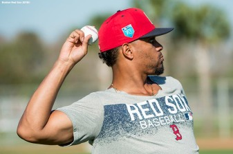 FT. MYERS, FL - FEBRUARY 16: Xander Bogaerts #2 of the Boston Red Sox throws during a team workout on February 16, 2018 at Fenway South in Fort Myers, Florida . (Photo by Billie Weiss/Boston Red Sox/Getty Images) *** Local Caption *** Xander Bogaerts