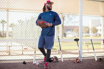 FT. MYERS, FL - FEBRUARY 16: Hanley Ramirez #13 of the Boston Red Sox walks onto the field during a team workout on February 16, 2018 at Fenway South in Fort Myers, Florida . (Photo by Billie Weiss/Boston Red Sox/Getty Images) *** Local Caption *** Hanley Ramirez