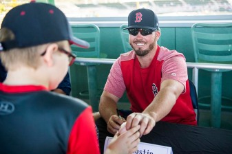 FT. MYERS, FL - FEBRUARY 16: Austin Maddox #62 of the Boston Red Sox signs autographs during an open house on February 17, 2018 at jetBlue Park at Fenway South in Fort Myers, Florida . (Photo by Billie Weiss/Boston Red Sox/Getty Images) *** Local Caption *** Austin Maddox