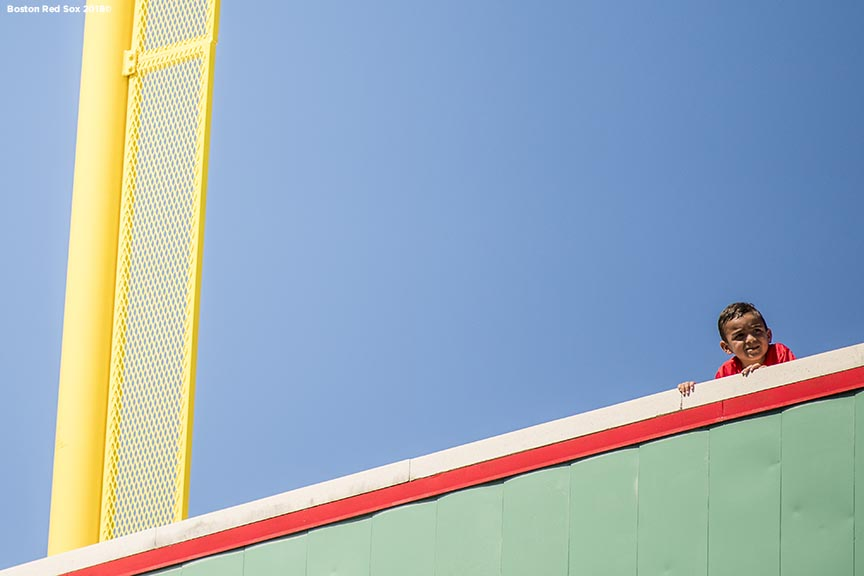 FT. MYERS, FL - FEBRUARY 16: A fan looks on from atop the Green Monster during a Boston Red Sox open house on February 17, 2018 at jetBlue Park at Fenway South in Fort Myers, Florida . (Photo by Billie Weiss/Boston Red Sox/Getty Images) *** Local Caption ***