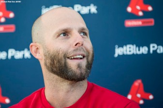 FT. MYERS, FL - FEBRUARY 16: Dustin Pedroia #15 of the Boston Red Sox meets with the media during a press conference during a team workout on February 17, 2018 at jetBlue Park at Fenway South in Fort Myers, Florida . (Photo by Billie Weiss/Boston Red Sox/Getty Images) *** Local Caption *** Dustin Pedroia