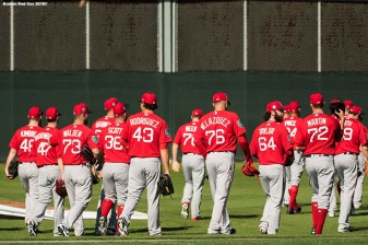 FT. MYERS, FL - FEBRUARY 16: Members of the Boston Red Sox walk toward the field during a team workout on February 17, 2018 at jetBlue Park at Fenway South in Fort Myers, Florida . (Photo by Billie Weiss/Boston Red Sox/Getty Images) *** Local Caption ***