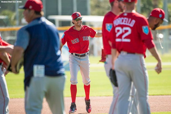 FT. MYERS, FL - FEBRUARY 16: Joe Kelly #56 of the Boston Red Sox reacts during a team workout on February 17, 2018 at jetBlue Park at Fenway South in Fort Myers, Florida . (Photo by Billie Weiss/Boston Red Sox/Getty Images) *** Local Caption *** Joe Kelly