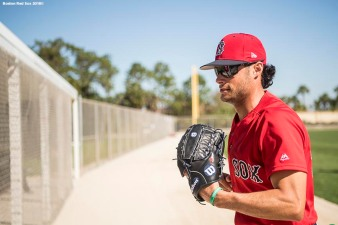FT. MYERS, FL - FEBRUARY 16: Joe Kelly #56 of the Boston Red Sox runs off the field during a team workout on February 17, 2018 at jetBlue Park at Fenway South in Fort Myers, Florida . (Photo by Billie Weiss/Boston Red Sox/Getty Images) *** Local Caption *** Joe Kelly