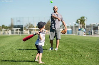 FT. MYERS, FL - FEBRUARY 18: Dustin Pedroia #15 of the Boston Red Sox plays with his son Brooks during a team workout on February 18, 2018 at jetBlue Park at Fenway South in Fort Myers, Florida . (Photo by Billie Weiss/Boston Red Sox/Getty Images) *** Local Caption *** Dustin Pedroia; Brooks Pedroia
