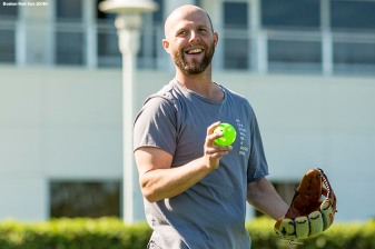 FT. MYERS, FL - FEBRUARY 18: Dustin Pedroia #15 of the Boston Red Sox reacts during a team workout on February 18, 2018 at jetBlue Park at Fenway South in Fort Myers, Florida . (Photo by Billie Weiss/Boston Red Sox/Getty Images) *** Local Caption *** Dustin Pedroia