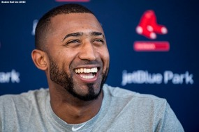 FT. MYERS, FL - FEBRUARY 18: Eduardo Nunez of the Boston Red Sox meets with the media during a press conference after being signed during a team workout on February 18, 2018 at jetBlue Park at Fenway South in Fort Myers, Florida . (Photo by Billie Weiss/Boston Red Sox/Getty Images) *** Local Caption *** Eduardo Nunez