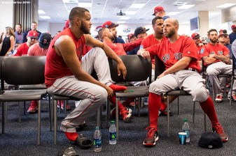 FT. MYERS, FL - FEBRUARY 19: Dustin Pedroia #15 talks with Eduardo Rodriguez #57 of the Boston Red Sox during a team meeting before a team workout on February 19, 2018 at jetBlue Park at Fenway South in Fort Myers, Florida . (Photo by Billie Weiss/Boston Red Sox/Getty Images) *** Local Caption *** Dustin Pedroia; Eduardo Rodriguez