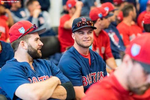 FT. MYERS, FL - FEBRUARY 19: Andrew Benintendi #16 of the Boston Red Sox reacts during a team meeting before a team workout on February 19, 2018 at jetBlue Park at Fenway South in Fort Myers, Florida . (Photo by Billie Weiss/Boston Red Sox/Getty Images) *** Local Caption *** Andrew Benintendi