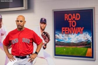 FT. MYERS, FL - FEBRUARY 19: Manager Alex Cora of the Boston Red Sox speaks during a team meeting before a team workout on February 19, 2018 at jetBlue Park at Fenway South in Fort Myers, Florida . (Photo by Billie Weiss/Boston Red Sox/Getty Images) *** Local Caption *** Alex Cora
