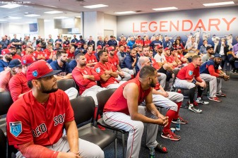 FT. MYERS, FL - FEBRUARY 19: Members of the Boston Red Sox gather for a team meeting before a team workout on February 19, 2018 at jetBlue Park at Fenway South in Fort Myers, Florida . (Photo by Billie Weiss/Boston Red Sox/Getty Images) *** Local Caption ***