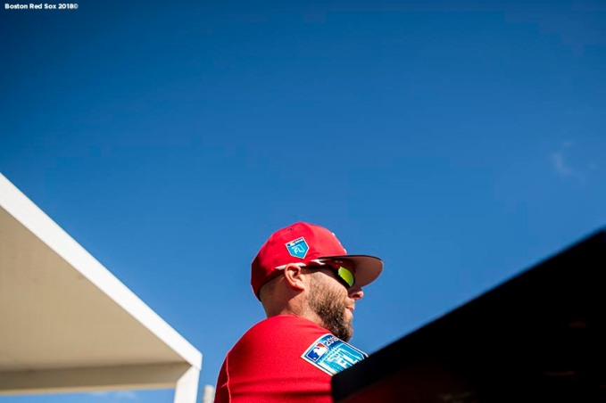 FT. MYERS, FL - FEBRUARY 19: Dustin Pedroia #15 of the Boston Red Sox signs autographs during a team workout on February 19, 2018 at jetBlue Park at Fenway South in Fort Myers, Florida . (Photo by Billie Weiss/Boston Red Sox/Getty Images) *** Local Caption *** Dustin Pedroia