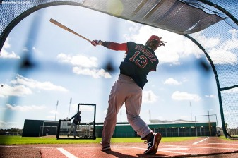 FT. MYERS, FL - FEBRUARY 19: Hanley Ramirez #13 of the Boston Red Sox takes batting practice during a team workout on February 19, 2018 at jetBlue Park at Fenway South in Fort Myers, Florida . (Photo by Billie Weiss/Boston Red Sox/Getty Images) *** Local Caption *** Hanley Ramirez