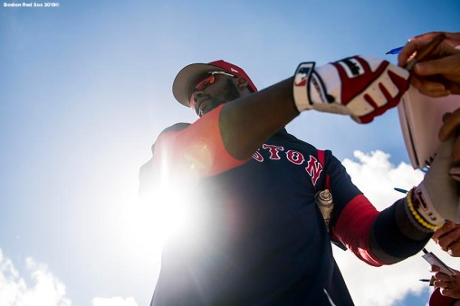 FT. MYERS, FL - FEBRUARY 19: Hanley Ramirez #13 of the Boston Red Sox signs autographs for fans during a team workout on February 19, 2018 at jetBlue Park at Fenway South in Fort Myers, Florida . (Photo by Billie Weiss/Boston Red Sox/Getty Images) *** Local Caption *** Hanley Ramirez