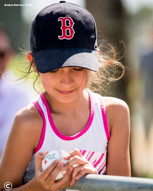 FT. MYERS, FL - FEBRUARY 19: A fan reacts after receiving an autograph during a Boston Red Sox team workout on February 19, 2018 at jetBlue Park at Fenway South in Fort Myers, Florida . (Photo by Billie Weiss/Boston Red Sox/Getty Images) *** Local Caption ***