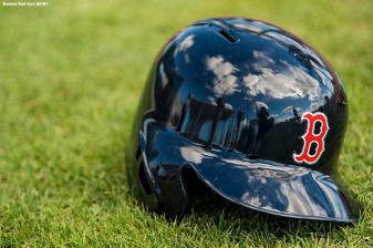 FT. MYERS, FL - FEBRUARY 19: A helmet is shown in the grass during a Boston Red Sox team workout on February 19, 2018 at jetBlue Park at Fenway South in Fort Myers, Florida . (Photo by Billie Weiss/Boston Red Sox/Getty Images) *** Local Caption ***