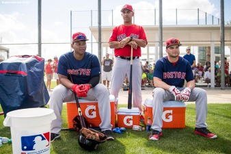 FT. MYERS, FL - FEBRUARY 19: Manager Alex Cora of the Boston Red Sox looks on with Rafael Devers #11 and Andrew Benintendi #16 during a team workout on February 19, 2018 at jetBlue Park at Fenway South in Fort Myers, Florida . (Photo by Billie Weiss/Boston Red Sox/Getty Images) *** Local Caption *** Andrew Benintendi; Alex Cora; Rafael Devers