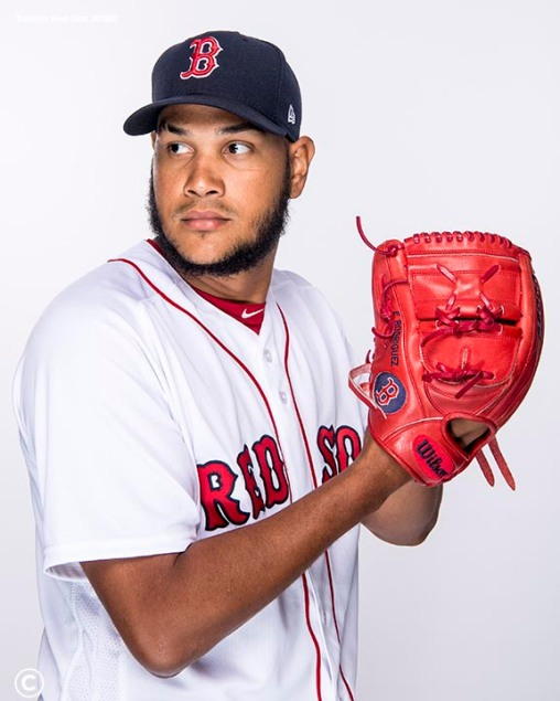 FT. MYERS, FL - FEBRUARY 20: Eduardo Rodriguez #57 of the Boston Red Sox poses for a portrait on team photo day on February 20, 2018 at jetBlue Park at Fenway South in Fort Myers, Florida . (Photo by Billie Weiss/Boston Red Sox/Getty Images) *** Local Caption *** Eduardo Rodriguez
