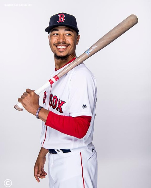 FT. MYERS, FL - FEBRUARY 20: Mookie Betts #50 of the Boston Red Sox poses for a portrait on team photo day on February 20, 2018 at jetBlue Park at Fenway South in Fort Myers, Florida . (Photo by Billie Weiss/Boston Red Sox/Getty Images) *** Local Caption *** Mookie Betts