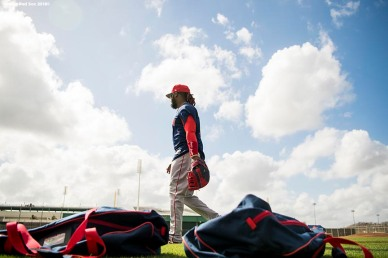 FT. MYERS, FL - FEBRUARY 21: Hanley Ramirez #13 of the Boston Red Sox walks on the field during a team workout on February 21, 2018 at jetBlue Park at Fenway South in Fort Myers, Florida . (Photo by Billie Weiss/Boston Red Sox/Getty Images) *** Local Caption *** Hanley Ramirez