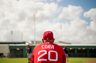 FT. MYERS, FL - FEBRUARY 21: Manager Alex Cora of the Boston Red Sox looks on during a team workout on February 21, 2018 at jetBlue Park at Fenway South in Fort Myers, Florida . (Photo by Billie Weiss/Boston Red Sox/Getty Images) *** Local Caption *** Alex Cora