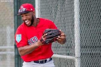 FT. MYERS, FL - FEBRUARY 21: Jeremy Barfield #75 of the Boston Red Sox reacts during a team workout on February 21, 2018 at jetBlue Park at Fenway South in Fort Myers, Florida . (Photo by Billie Weiss/Boston Red Sox/Getty Images) *** Local Caption *** Jeremy Barfield