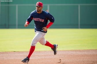 FT. MYERS, FL - FEBRUARY 21: Xander Bogaerts #2 of the Boston Red Sox runs the bases during a team workout on February 21, 2018 at jetBlue Park at Fenway South in Fort Myers, Florida . (Photo by Billie Weiss/Boston Red Sox/Getty Images) *** Local Caption *** Xander Bogaerts
