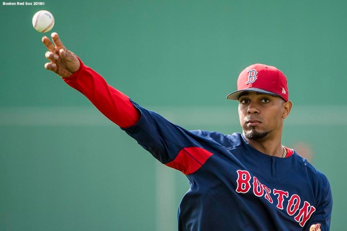 FT. MYERS, FL - FEBRUARY 21: Xander Bogaerts #2 of the Boston Red Sox throws during a team workout on February 21, 2018 at jetBlue Park at Fenway South in Fort Myers, Florida . (Photo by Billie Weiss/Boston Red Sox/Getty Images) *** Local Caption *** Xander Bogaerts