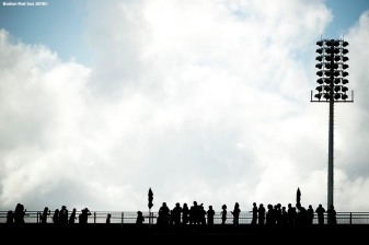 FT. MYERS, FL - FEBRUARY 21: Fans look on from atop the stadium during a Boston Red Sox team workout on February 21, 2018 at jetBlue Park at Fenway South in Fort Myers, Florida . (Photo by Billie Weiss/Boston Red Sox/Getty Images) *** Local Caption ***