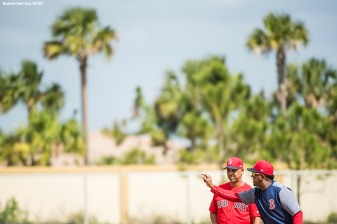 FT. MYERS, FL - FEBRUARY 21: Manager Alex Cora of the Boston Red Sox speaks with former pitcher Pedro Martinez during a team workout on February 21, 2018 at jetBlue Park at Fenway South in Fort Myers, Florida . (Photo by Billie Weiss/Boston Red Sox/Getty Images) *** Local Caption *** Alex Cora; Pedro Martinez
