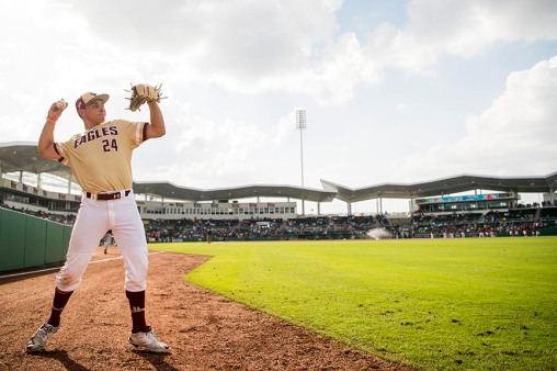 FT. MYERS, FL - FEBRUARY 22: Mikey Giordano #24 of Boston College warms up before a game against the Boston Red Sox on February 22, 2018 at jetBlue Park at Fenway South in Fort Myers, Florida . (Photo by Billie Weiss/Boston Red Sox/Getty Images) *** Local Caption *** Mikey Giordano
