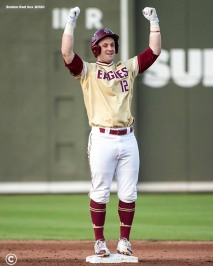 FT. MYERS, FL - FEBRUARY 22: Scott Braren #12 of Boston College reacts after hitting a double during a game against the Boston Red Sox on February 22, 2018 at jetBlue Park at Fenway South in Fort Myers, Florida . (Photo by Billie Weiss/Boston Red Sox/Getty Images) *** Local Caption *** Scott Braren