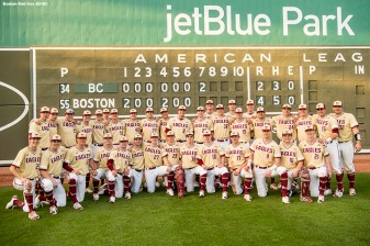 FT. MYERS, FL - FEBRUARY 22: Members of Boston College pose for a team photograph after a game against the Boston Red Sox on February 22, 2018 at jetBlue Park at Fenway South in Fort Myers, Florida . (Photo by Billie Weiss/Boston Red Sox/Getty Images) *** Local Caption ***