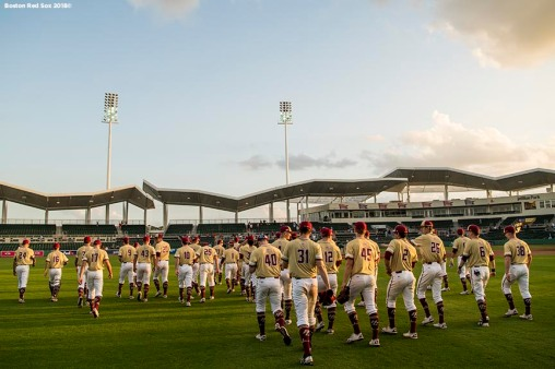FT. MYERS, FL - FEBRUARY 22: Members of Boston College walk off the field after a game against the Boston Red Sox on February 22, 2018 at jetBlue Park at Fenway South in Fort Myers, Florida . (Photo by Billie Weiss/Boston Red Sox/Getty Images) *** Local Caption ***