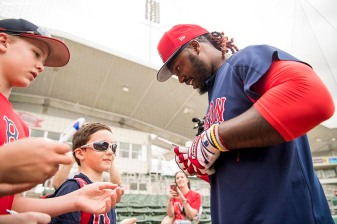 FT. MYERS, FL - FEBRUARY 22: Hanley Ramirez #19 of the Boston Red Sox signs autographs for fans before a game against Northeastern University on February 22, 2018 at jetBlue Park at Fenway South in Fort Myers, Florida . (Photo by Billie Weiss/Boston Red Sox/Getty Images) *** Local Caption *** Hanley Ramirez