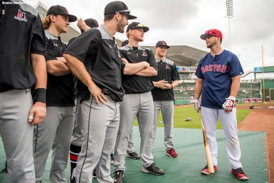 FT. MYERS, FL - FEBRUARY 22: Andrew Benintendi #19 of the Boston Red Sox greets members of Northeastern University before a game on February 22, 2018 at jetBlue Park at Fenway South in Fort Myers, Florida . (Photo by Billie Weiss/Boston Red Sox/Getty Images) *** Local Caption *** Andrew Benintendi
