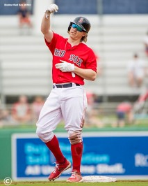 FT. MYERS, FL - FEBRUARY 22: Brock Holt #12 of the Boston Red Sox reacts after hitting a double during a game against Northeastern University on February 22, 2018 at jetBlue Park at Fenway South in Fort Myers, Florida . (Photo by Billie Weiss/Boston Red Sox/Getty Images) *** Local Caption *** Brock Holt