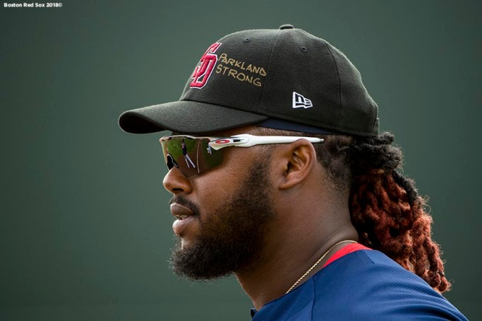 FORT MYERS, FL - FEBRUARY 23: Hanley Ramirez #13 of the Boston Red Sox displays a 'Parkland Strong' message on as he wears the hat of the Marjory Stoneman Douglas High School Eagles baseball team before a game against the Minnesota Twins at JetBlue Park at Fenway South on February 23, 2018 in Fort Myers, Florida. (Photo by Billie Weiss/Boston Red Sox/Getty Images) *** Local Caption *** Hanley Ramirez
