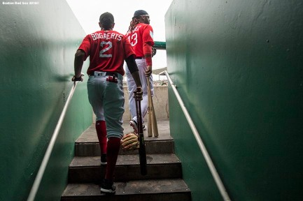 FORT MYERS, FL - FEBRUARY 23: Xander Bogaerts #2 and Hanley Ramirez #13 of the Boston Red Sox walk to the dugout during a game against the Minnesota Twins at JetBlue Park at Fenway South on February 23, 2018 in Fort Myers, Florida. (Photo by Billie Weiss/Boston Red Sox/Getty Images) *** Local Caption *** Xander Bogaerts; Hanley Ramirez