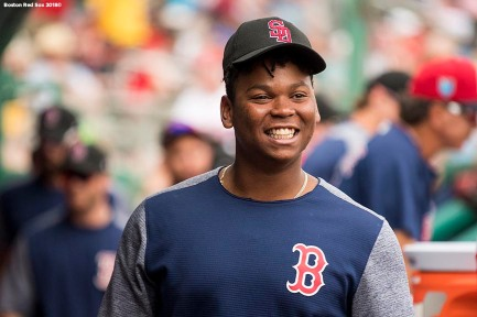 FORT MYERS, FL - FEBRUARY 23: Rafael Devers #11 of the Boston Red Sox reacts during a game against the Minnesota Twins at JetBlue Park at Fenway South on February 23, 2018 in Fort Myers, Florida. (Photo by Billie Weiss/Boston Red Sox/Getty Images) *** Local Caption *** Rafael Devers