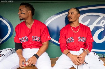 FORT MYERS, FL - FEBRUARY 23: Xander Bogaerts #2 and Mookie Betts #50 of the Boston Red Sox look on during a game against the Minnesota Twins at JetBlue Park at Fenway South on February 23, 2018 in Fort Myers, Florida. (Photo by Billie Weiss/Boston Red Sox/Getty Images) *** Local Caption *** Xander Bogaerts; Mookie Betts