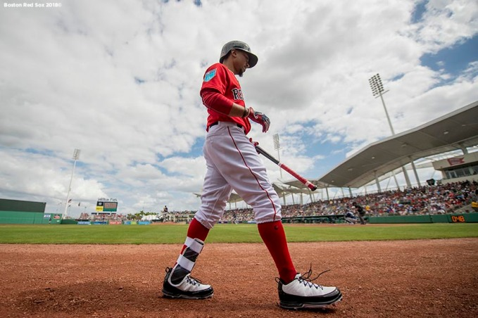 FORT MYERS, FL - FEBRUARY 23: Mookie Betts #50 of the Boston Red Sox walks to the on deck circle during a game against the Minnesota Twins at JetBlue Park at Fenway South on February 23, 2018 in Fort Myers, Florida. (Photo by Billie Weiss/Boston Red Sox/Getty Images) *** Local Caption *** Mookie Betts