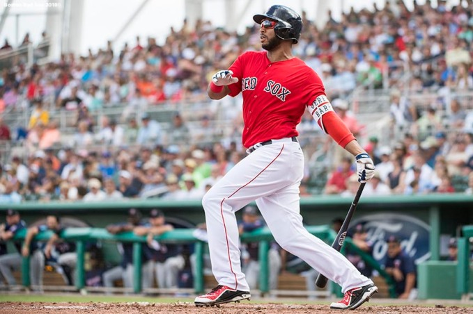 FORT MYERS, FL - FEBRUARY 23: Jeremy Barfield #75 of the Boston Red Sox hits an RBI double during a game against the Minnesota Twins at JetBlue Park at Fenway South on February 23, 2018 in Fort Myers, Florida. (Photo by Billie Weiss/Boston Red Sox/Getty Images) *** Local Caption *** Jeremy Barfield