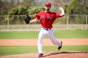 FORT MYERS, FL - FEBRUARY 24: Chris Sale #41 of the Boston Red Sox pitches in a simulated game before a game against the Tampa Bay Rays at JetBlue Park at Fenway South on February 24, 2018 in Fort Myers, Florida. (Photo by Billie Weiss/Boston Red Sox/Getty Images) *** Local Caption *** Chris Sale